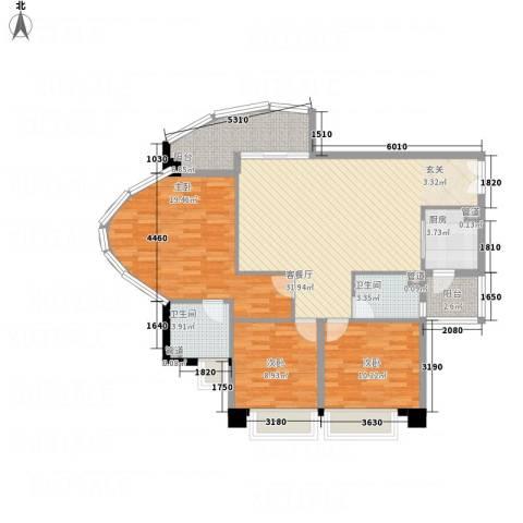 亿海湾3室1厅2卫1厨129.00㎡户型图