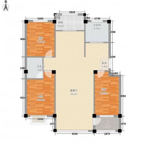 维克紫锦花园3室1厅2卫1厨108.73㎡户型图
