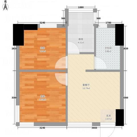 金阳花园2室1厅1卫1厨56.00㎡户型图