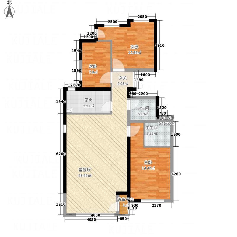 凤凰御景116.27㎡洋房E2户型3室2厅2卫1厨