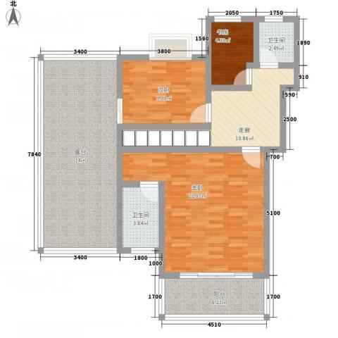 假日江南雅筑3室0厅2卫0厨122.00㎡户型图