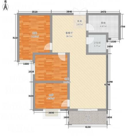 乾达・盛世嘉园3室1厅1卫1厨128.00㎡户型图