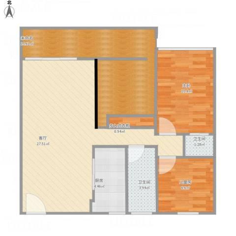 雅居苑2室1厅2卫1厨97.00㎡户型图