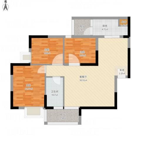 国明・皇御苑3室1厅1卫1厨107.00㎡户型图