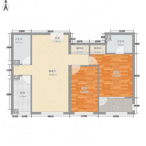 碟翠阁2室1厅2卫1厨108.00㎡户型图
