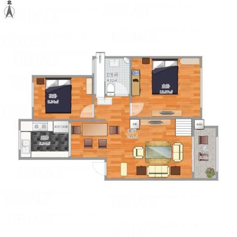 绿地新干线2室1厅1卫1厨82.00㎡户型图