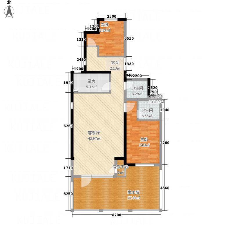 凤凰御景15.50㎡洋房E1户型2室2厅2卫1厨