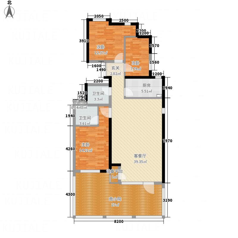 凤凰御景116.27㎡洋房E1'户型3室2厅2卫1厨