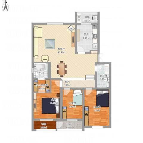金厦新都花园4室1厅2卫2厨148.00㎡户型图