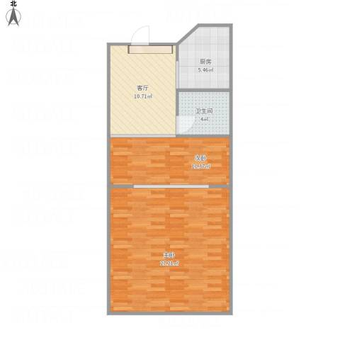 子牙里2室1厅1卫1厨77.00㎡户型图