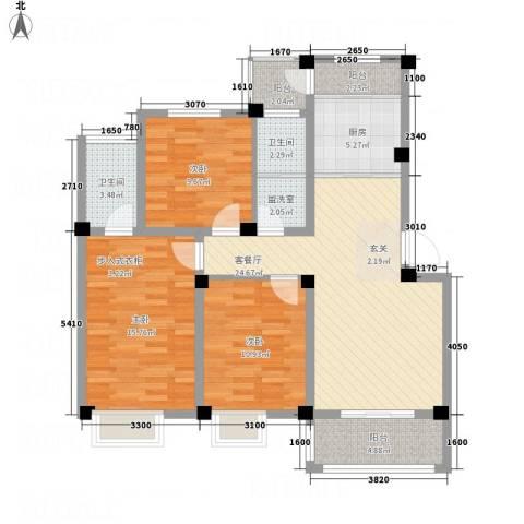鑫桥康郡3室2厅2卫1厨122.00㎡户型图