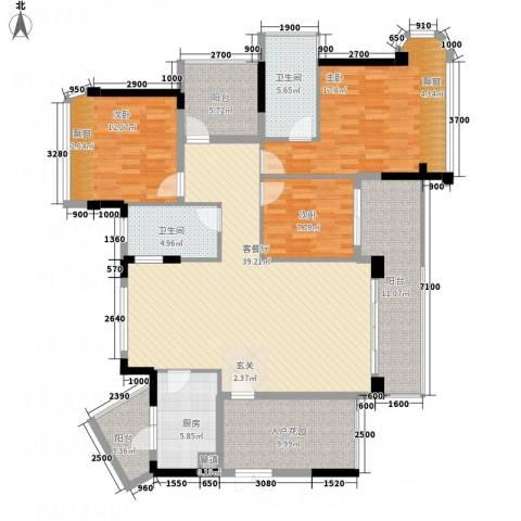东方・比华利山庄3室1厅2卫1厨123.66㎡户型图