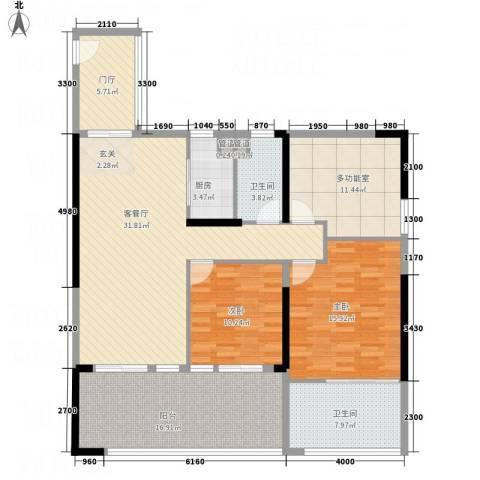 华润・石梅湾九里2室1厅2卫1厨152.00㎡户型图