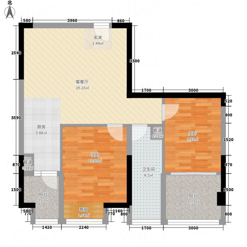 大隆财富广场5.88㎡B1户型2室2厅1卫1厨