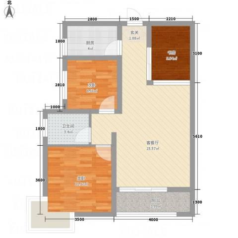 亿龙国际3室1厅1卫1厨60.33㎡户型图