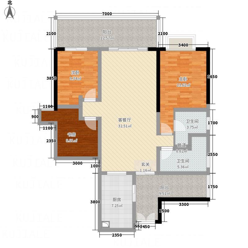肯辛顿国际公寓122.24㎡06单元户型3室2厅2卫1厨