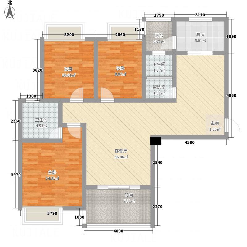 壹线国际步行街136.82㎡5#户型3室2厅2卫