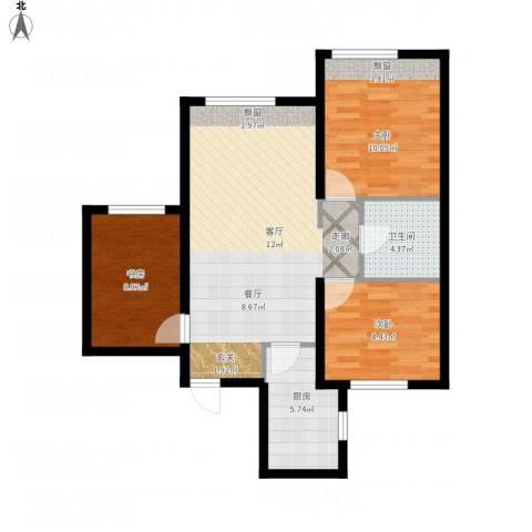 中国铁建 青秀蓝湾3室1厅1卫1厨93.00㎡户型图