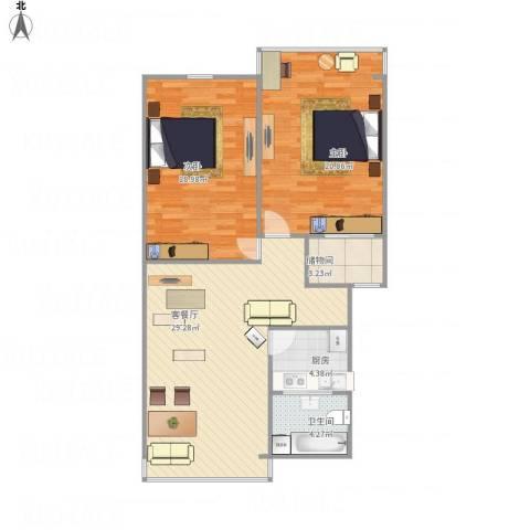 十五家园2室1厅1卫1厨108.00㎡户型图