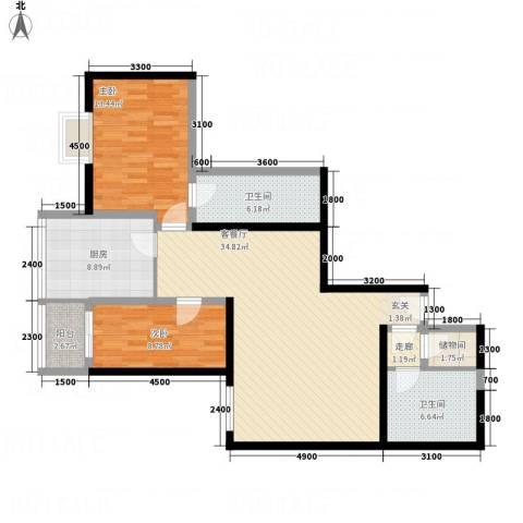 公园大观2室1厅2卫1厨124.00㎡户型图