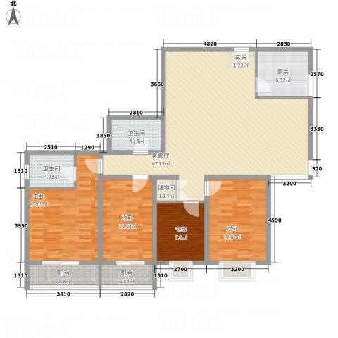 公园大观4室1厅2卫1厨166.00㎡户型图