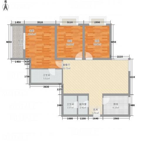 公园大观3室2厅2卫1厨132.00㎡户型图