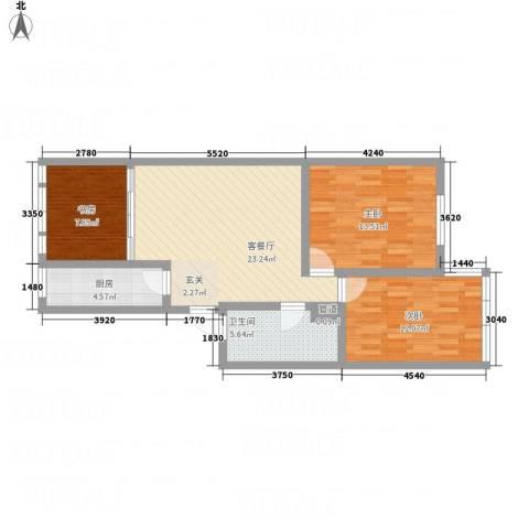 仁和翠苑3室1厅1卫1厨97.00㎡户型图