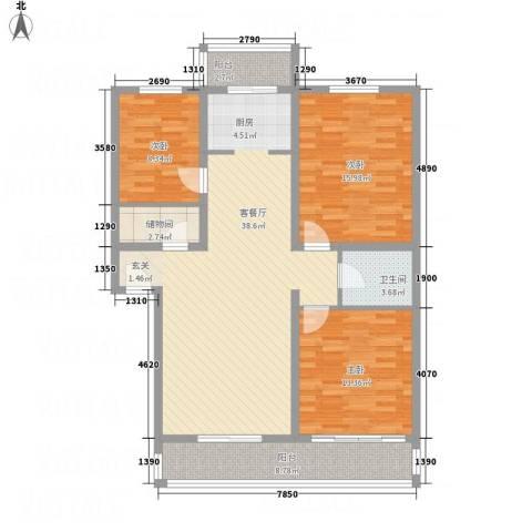 丰禾新家园3室1厅1卫0厨136.00㎡户型图