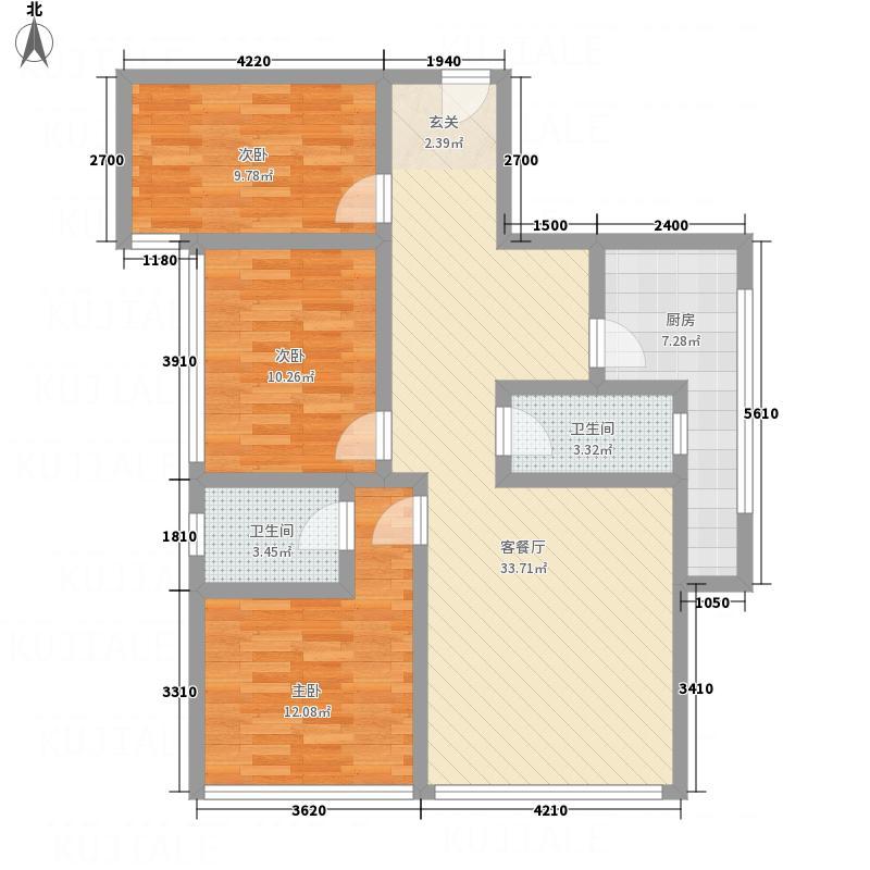 锦东叠彩城2户型3室2厅2卫1厨