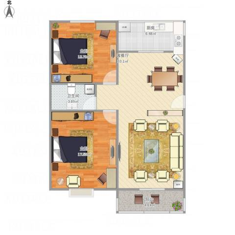 鑫苑城市之家11号3单元5022室1厅1卫1厨106.00㎡户型图