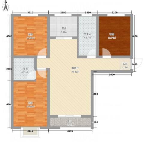 碟翠阁3室1厅2卫1厨123.00㎡户型图