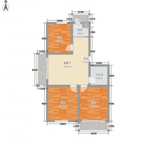 园丁花园一期3室1厅1卫1厨91.61㎡户型图
