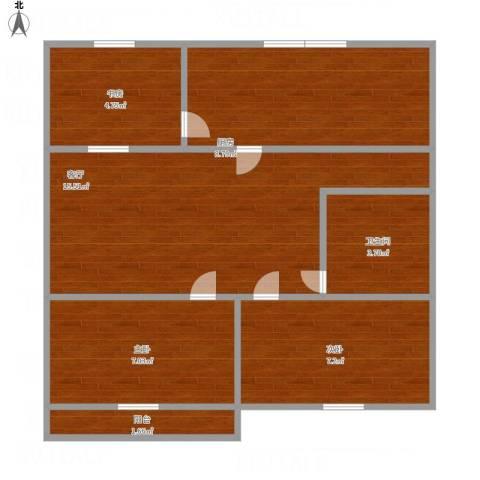 阳光舜城3室1厅1卫1厨53.64㎡户型图