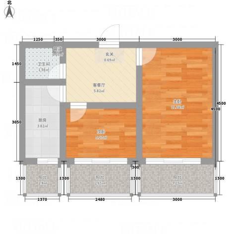 园丁花园一期2室1厅1卫1厨43.11㎡户型图