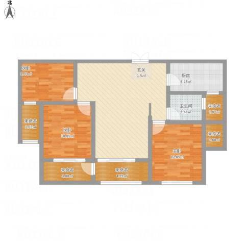 蓝柏湾3室1厅1卫1厨123.00㎡户型图