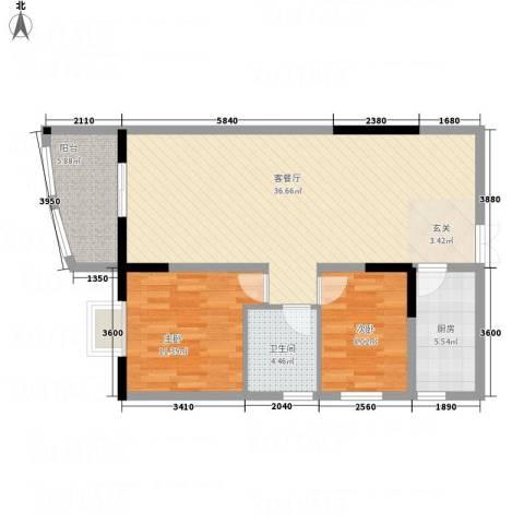 时代广场2室1厅1卫1厨102.00㎡户型图