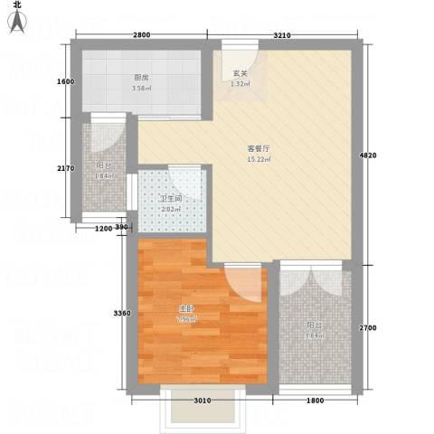 碟翠阁1室1厅1卫1厨51.00㎡户型图