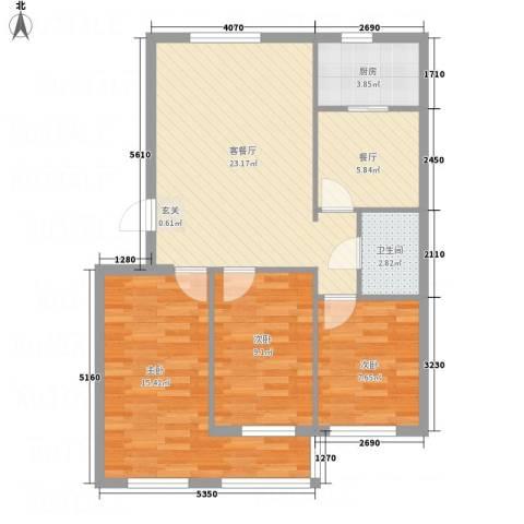 秦唐12栋3室2厅1卫1厨95.00㎡户型图