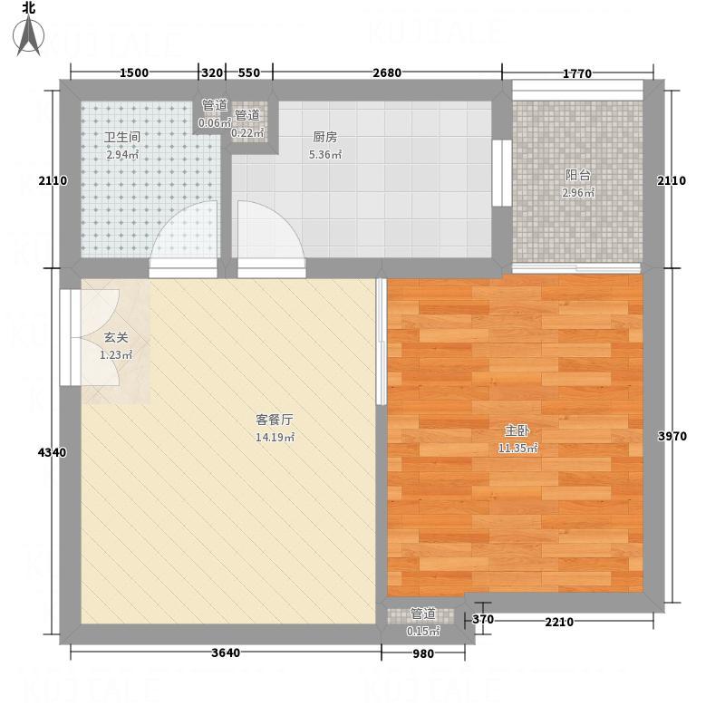永宁国际54.00㎡G户型1室1厅1卫1厨