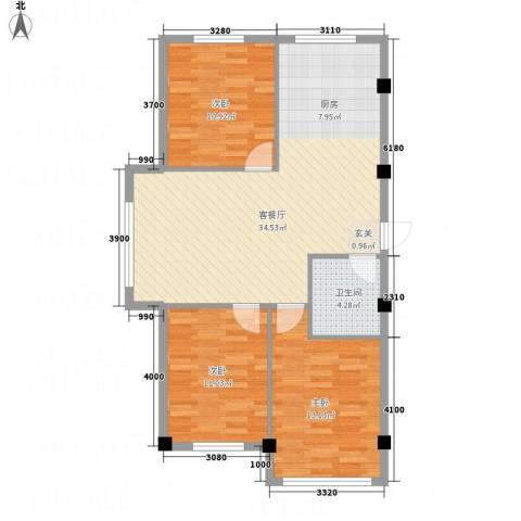 秦唐12栋3室1厅1卫0厨102.00㎡户型图