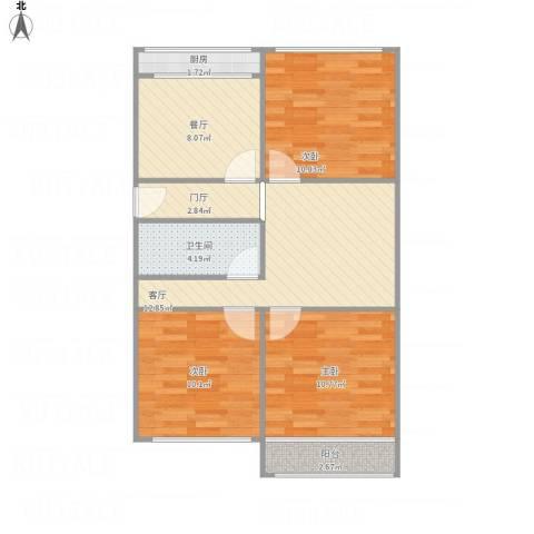 六里山南路宿舍3室2厅1卫1厨88.00㎡户型图