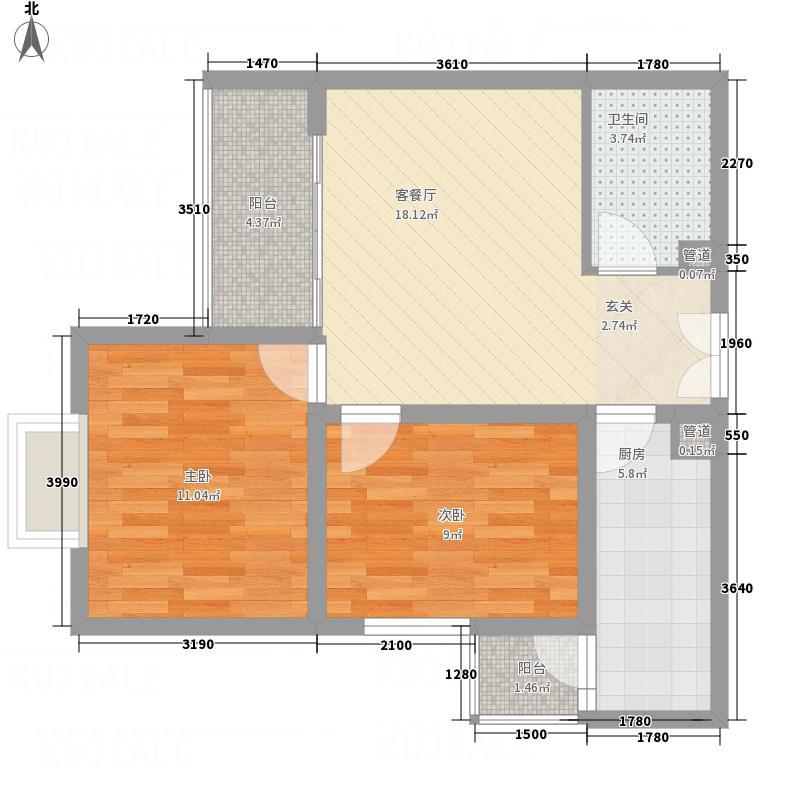 永宁国际78.00㎡D户型2室1厅1卫1厨