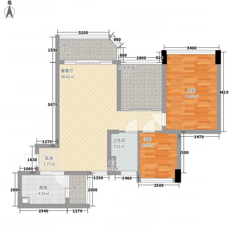 新会碧桂园1.50㎡南湖郡5号楼J220-01户型2室2厅1卫1厨