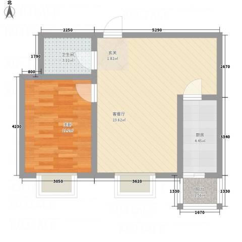 安鑫苑1室1厅1卫1厨63.00㎡户型图