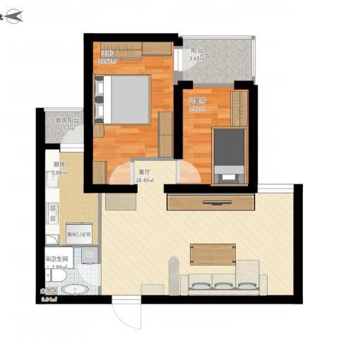 金顶街三区2室1厅1卫1厨87.00㎡户型图