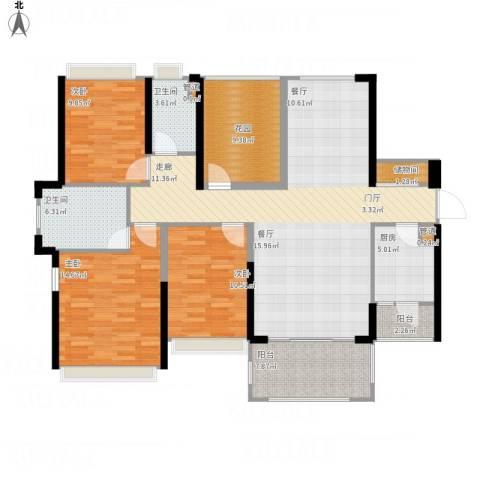 佳兆业帝景中央3室1厅2卫1厨157.00㎡户型图