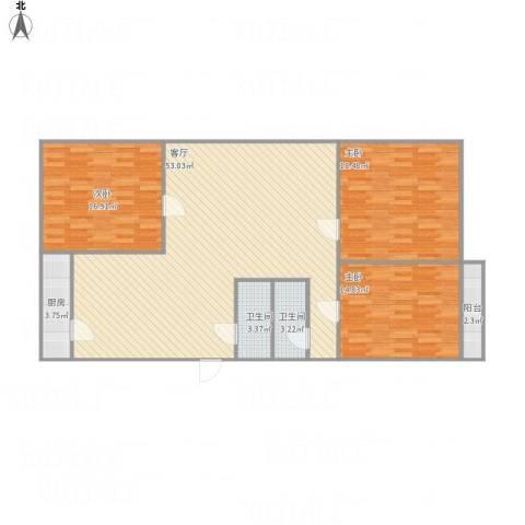 玉函小区3室1厅2卫1厨154.00㎡户型图