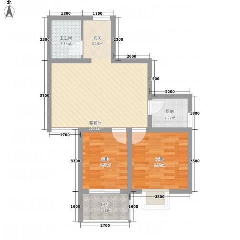 帝上龙园2室1厅1卫1厨48.45㎡户型图