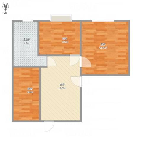 东新园雪峰苑2室1厅1卫1厨66.00㎡户型图