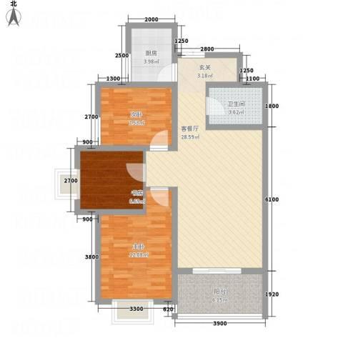 帝上龙园3室1厅1卫1厨68.63㎡户型图